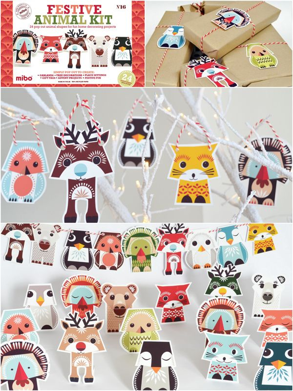 Festive Animal Kit Illustrations de Madeleine Rogers Mibo / Coq en pâte