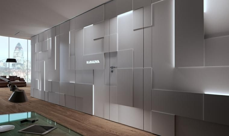 Wände mit Stein und indirekter Beleuchtung dekoriert Pinterest
