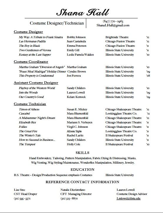 costume resume free resume cv 48 technical theatre resume
