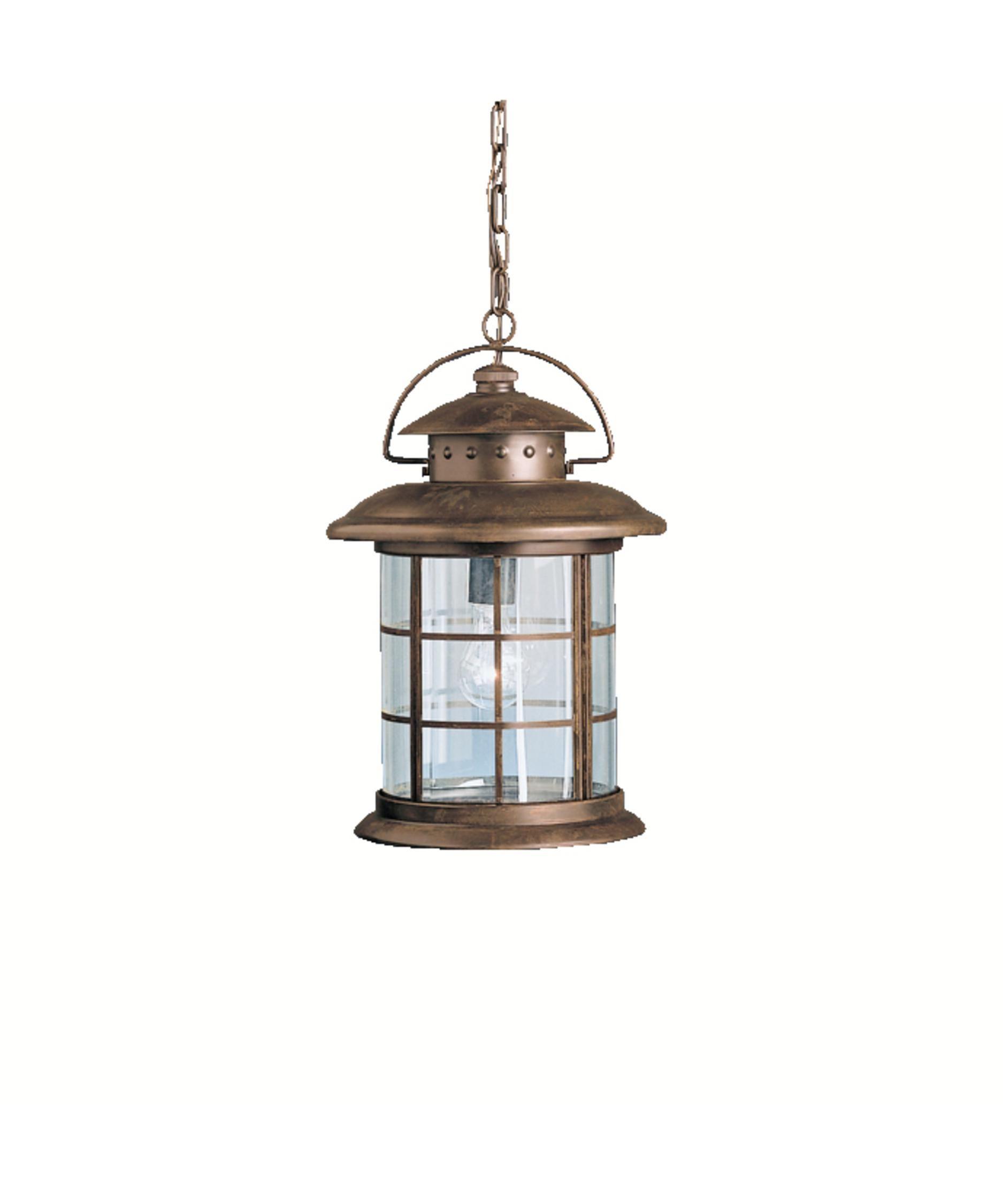 Kichler Rustic 1 Light Outdoor Hanging Lantern Outdoor Pendant Lighting Outdoor Ceiling Lights Outdoor Hanging Lanterns