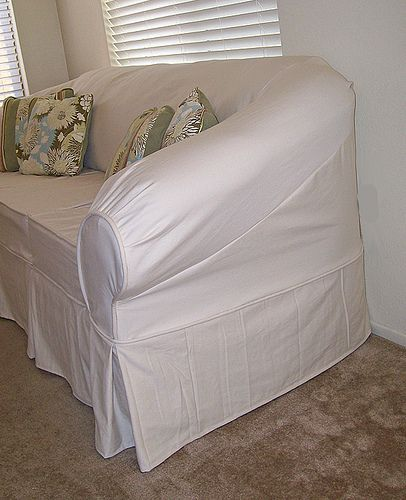 White Slipcover On Old Faux Leather Sofa Diy