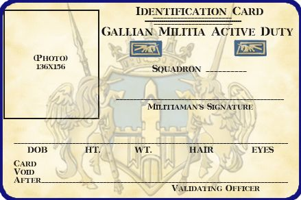 Gallian Militia Id Card Template By Lieutenantgordon On