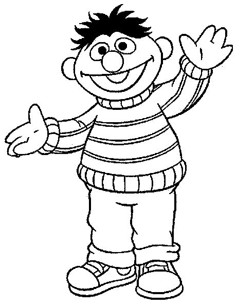 Ernie Happy Sesame Street Coloring Pages