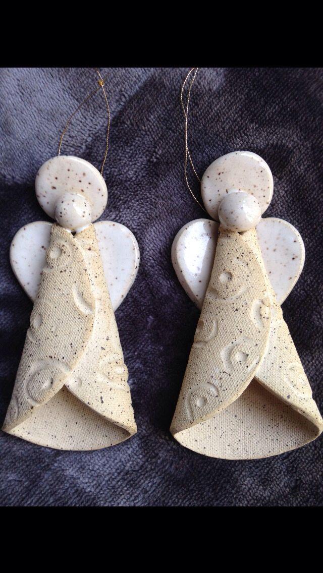 Hand Built Pottery Angel Ornaments by Karen Lucid - Salzteig Rezepte #potteryideas