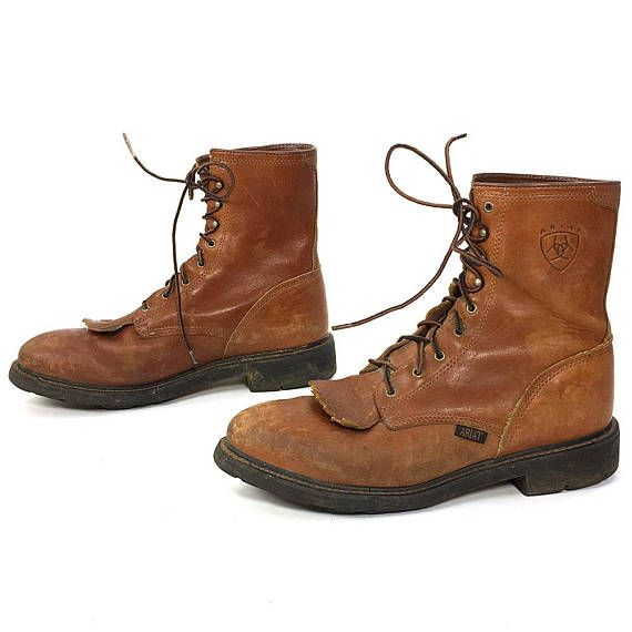 dc101c51e1878 Ariat Lace Up Ankle Boots / Vintage Brown Leather Kiltie Roper Boots ...