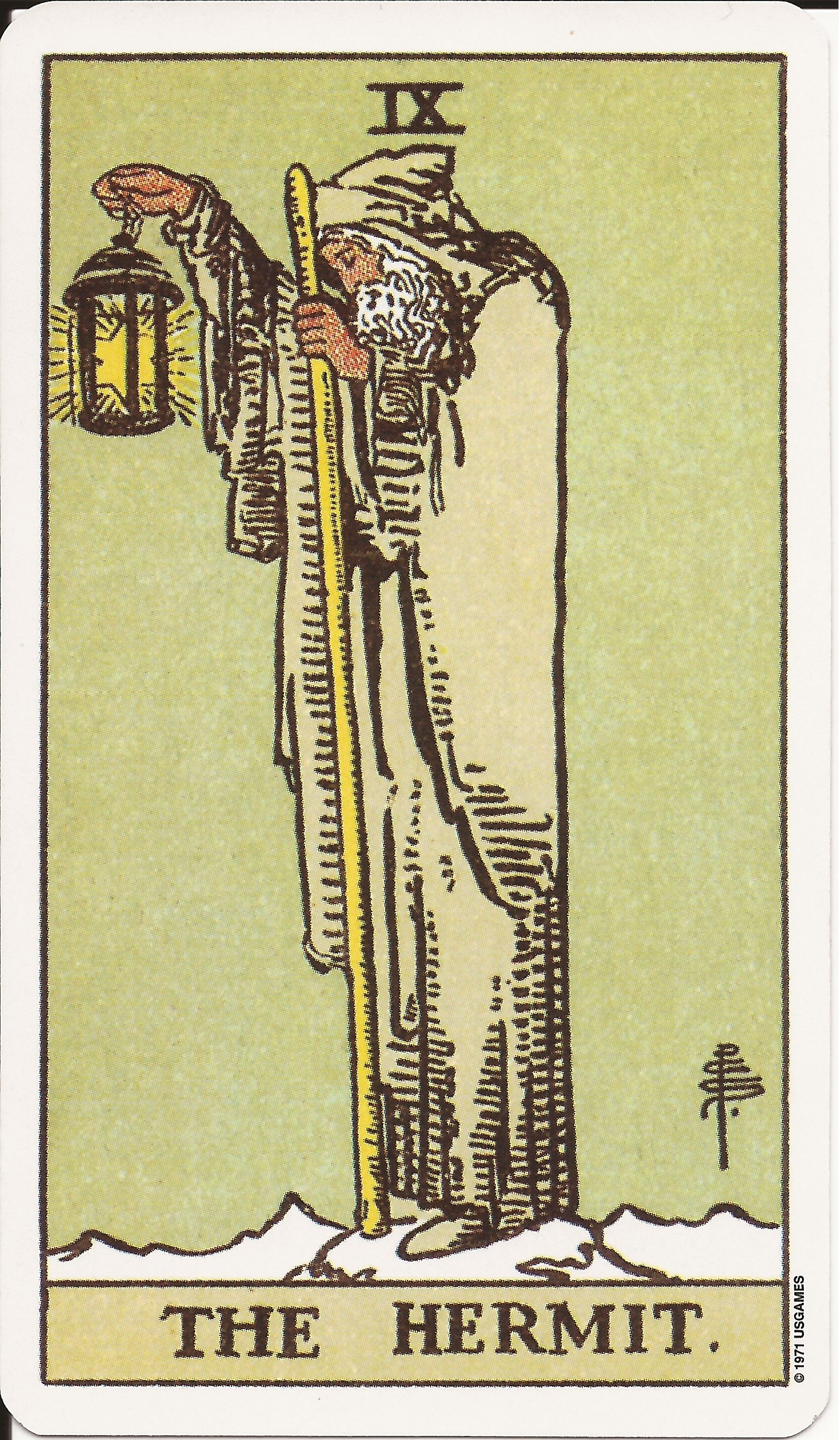 The hermit is the 9th card in tarot card in major arcana