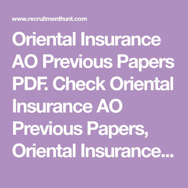 Solved Oriental Insurance Ao Previous Year Question Papers Pdf