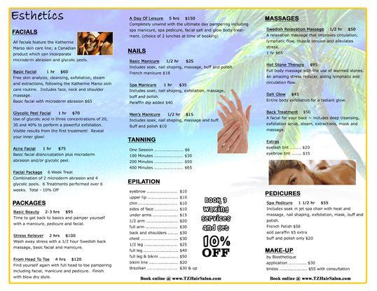 Tz Hair Salon Pamphlet  Salon Ideas    Salons And