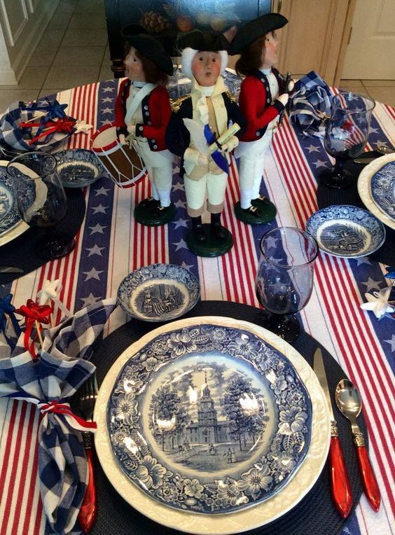 ~Table of red, white and blue....