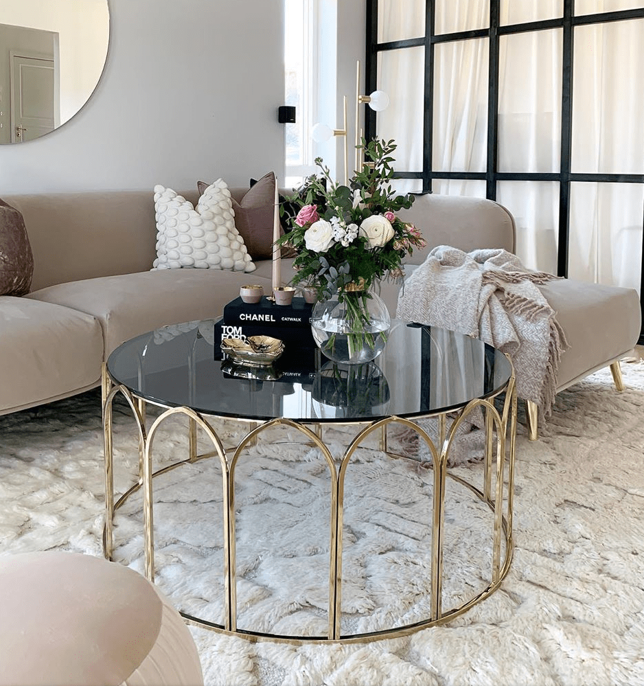 Circus Coffee Table Gold Grey Glass Top Glass Coffee Table Decor Coffee Table Stylish Coffee Table [ 999 x 938 Pixel ]