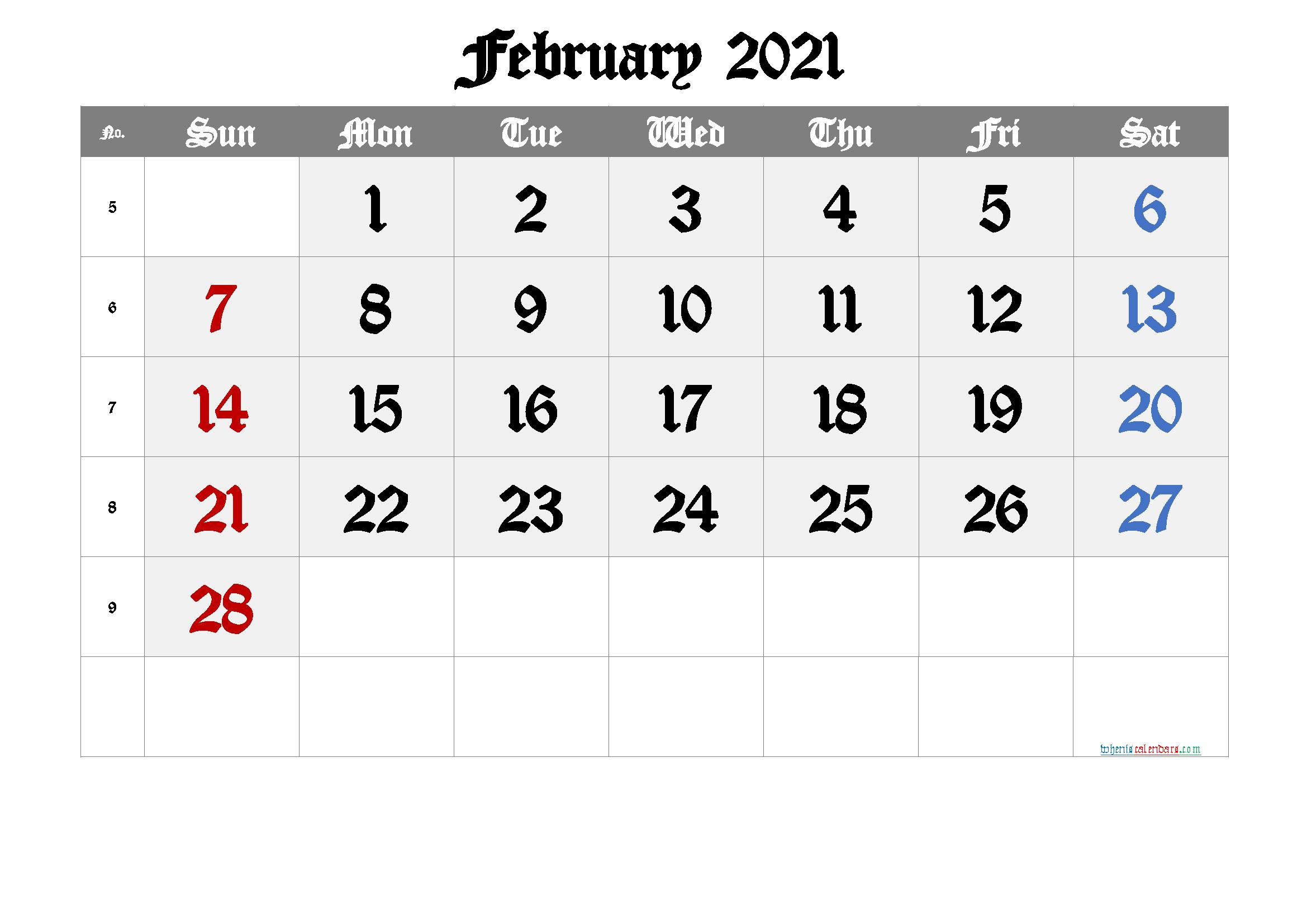 Free February 2021 Calendar Free Premium In 2020 Calendar Printables Calendar With Week Numbers Printable Calendar