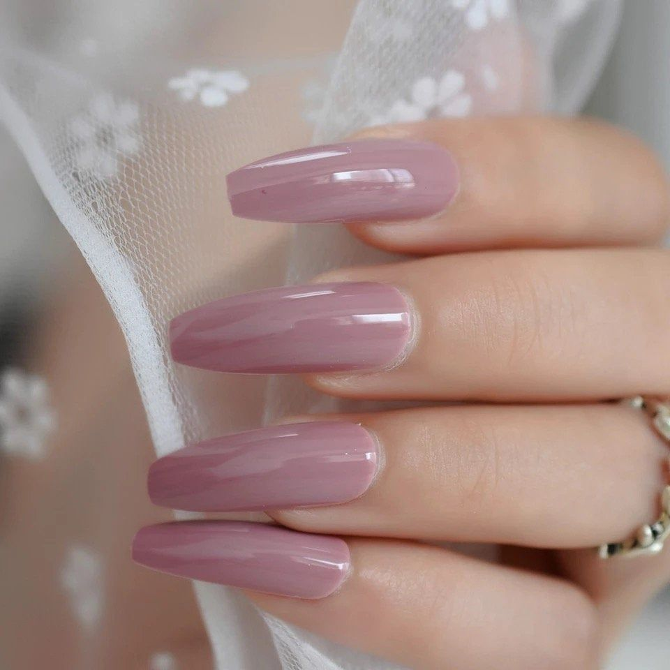 Dark Purple Pink Press On False Nails Extra Long Uv Gel Coffin Ballerina Flat Shape Press On Fingersnail Free Ad Pretty Acrylic Nails Fake Nails Press On Nails