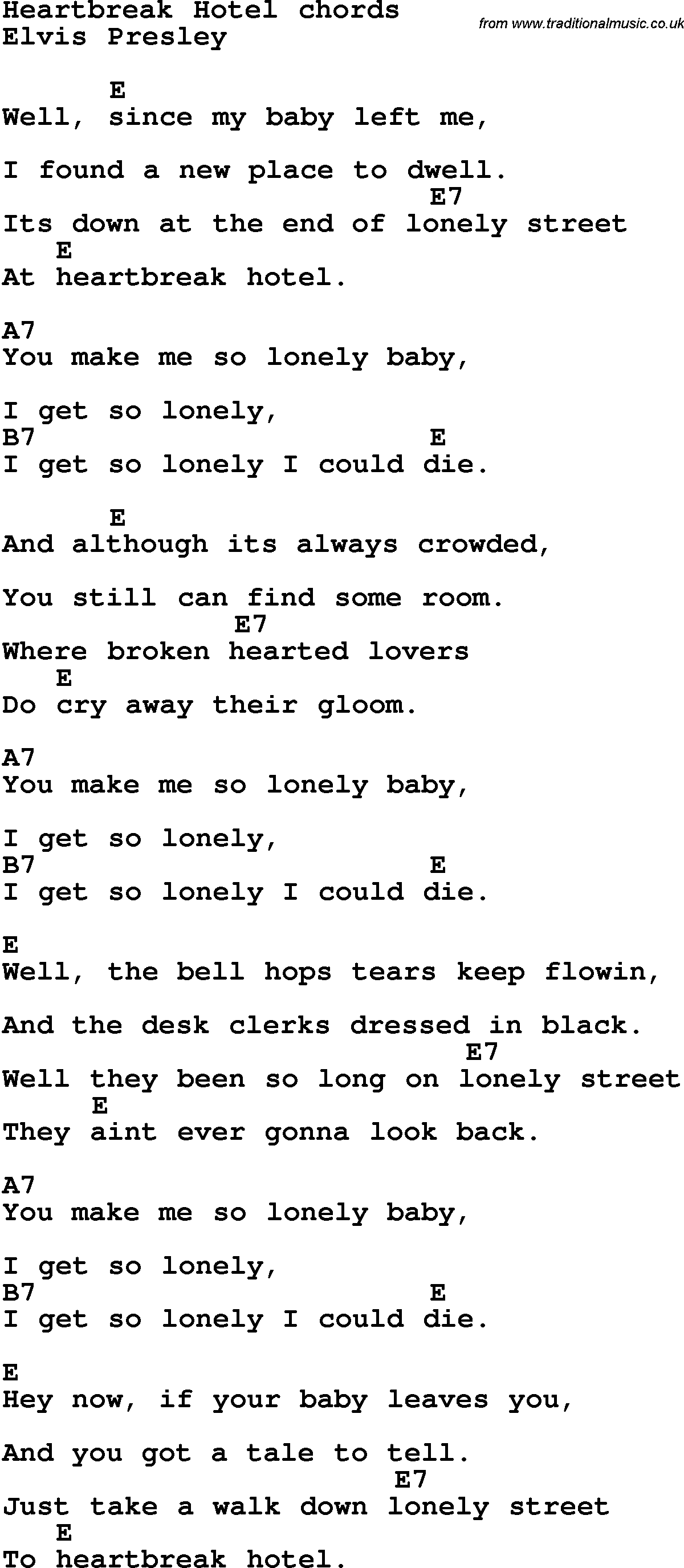 Song Lyrics With Guitar Chords For Heartbreak Hotel Sheet Music