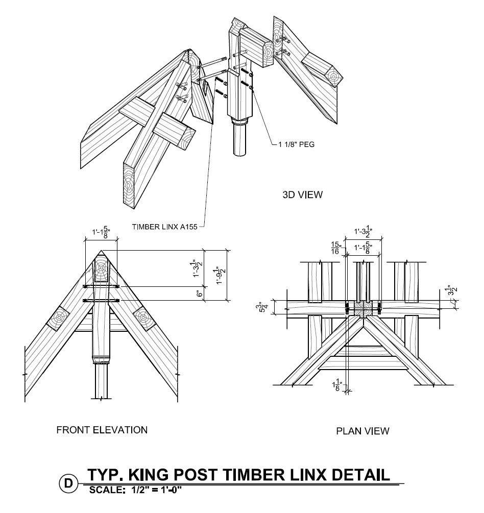King Post And Timber Linx Detail Timber Frame Homes Steel Trusses Timber Structure