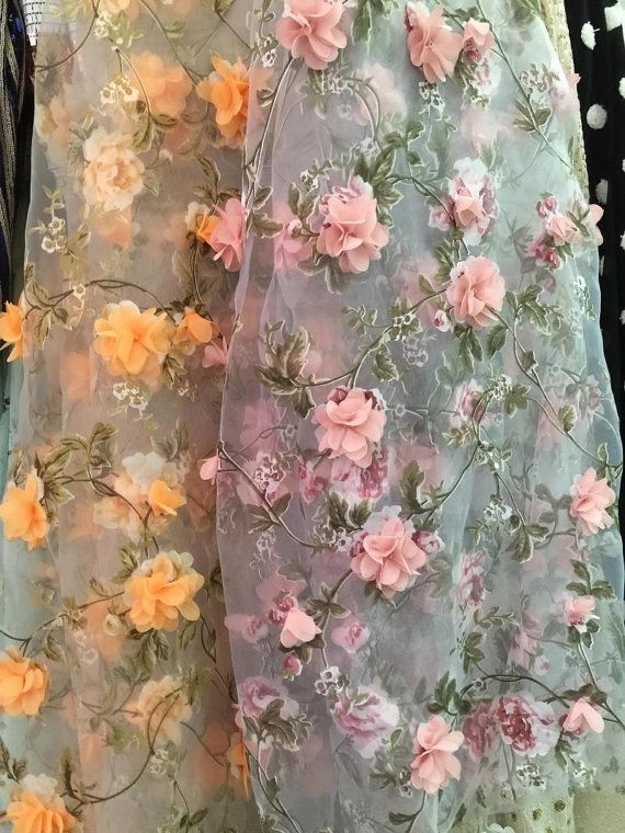 Organza lace fabric with pink 3D chiffon rosette flowers applique for  wedding gown 52ec6a483e35