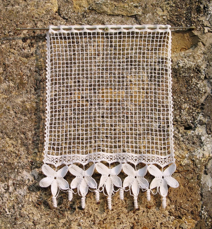 Fr Paire De Rideaux En Filet Et Dentelle De Crochet Ecrue