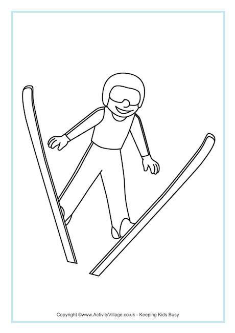 ski jumping colouring page  ski jumping winter olympics