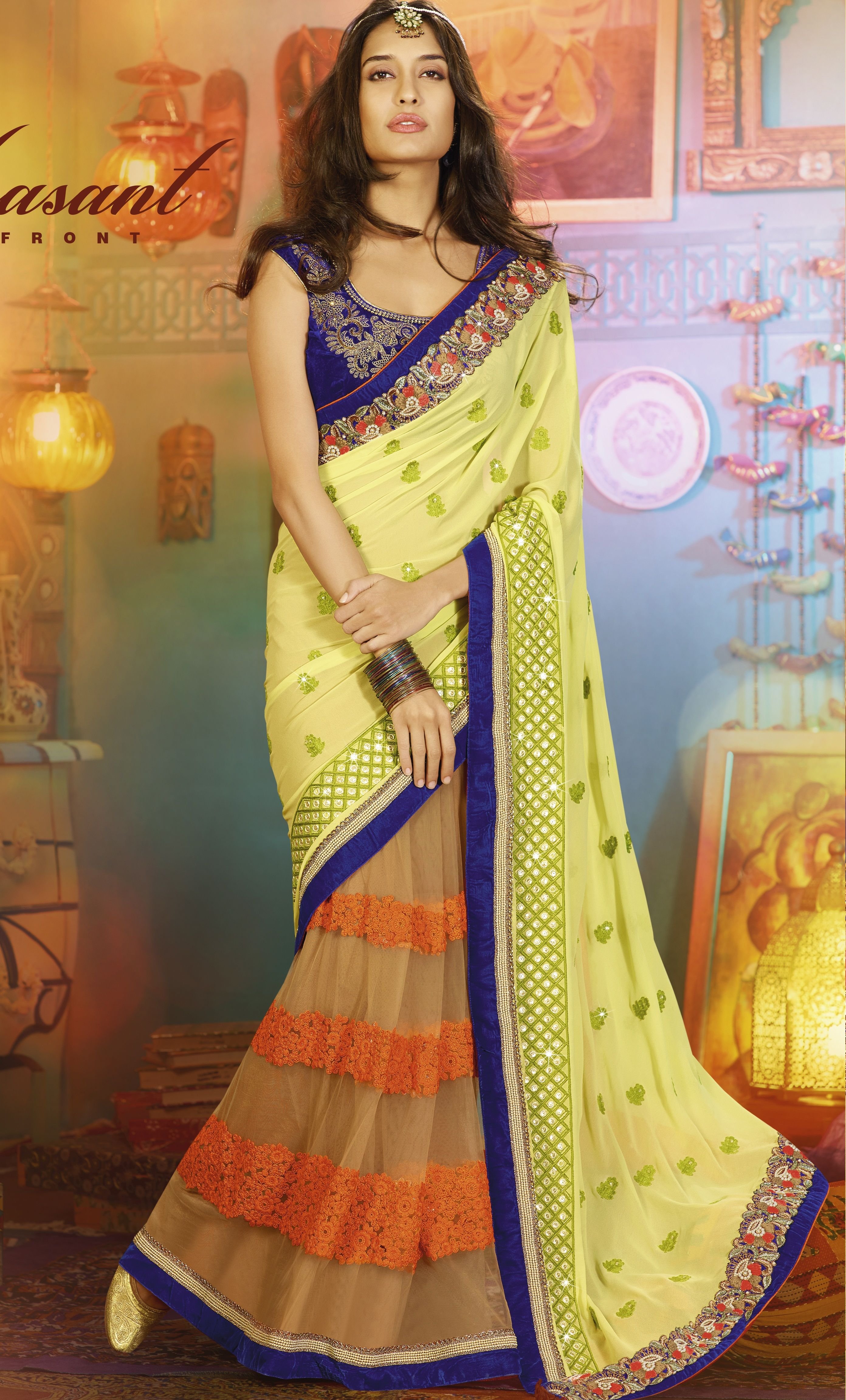 5e49358fe3b15d Neon color code green georgette with cream net having orange threading work  at  designersaree comes with blue designer  blouse