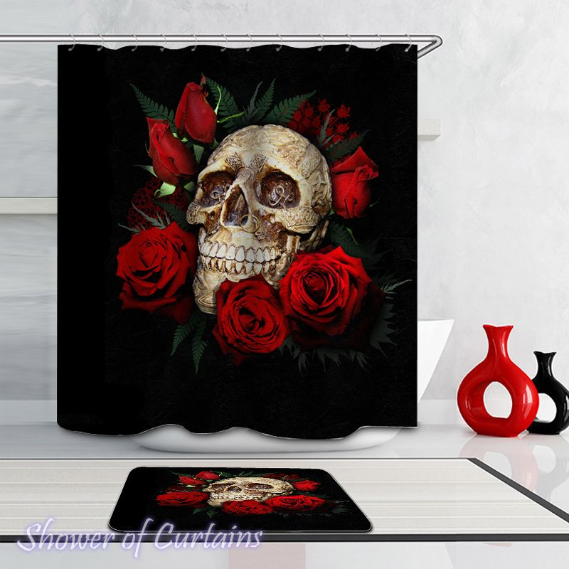 Decorated Skull And Roses Shower Curtain - HXTC0630