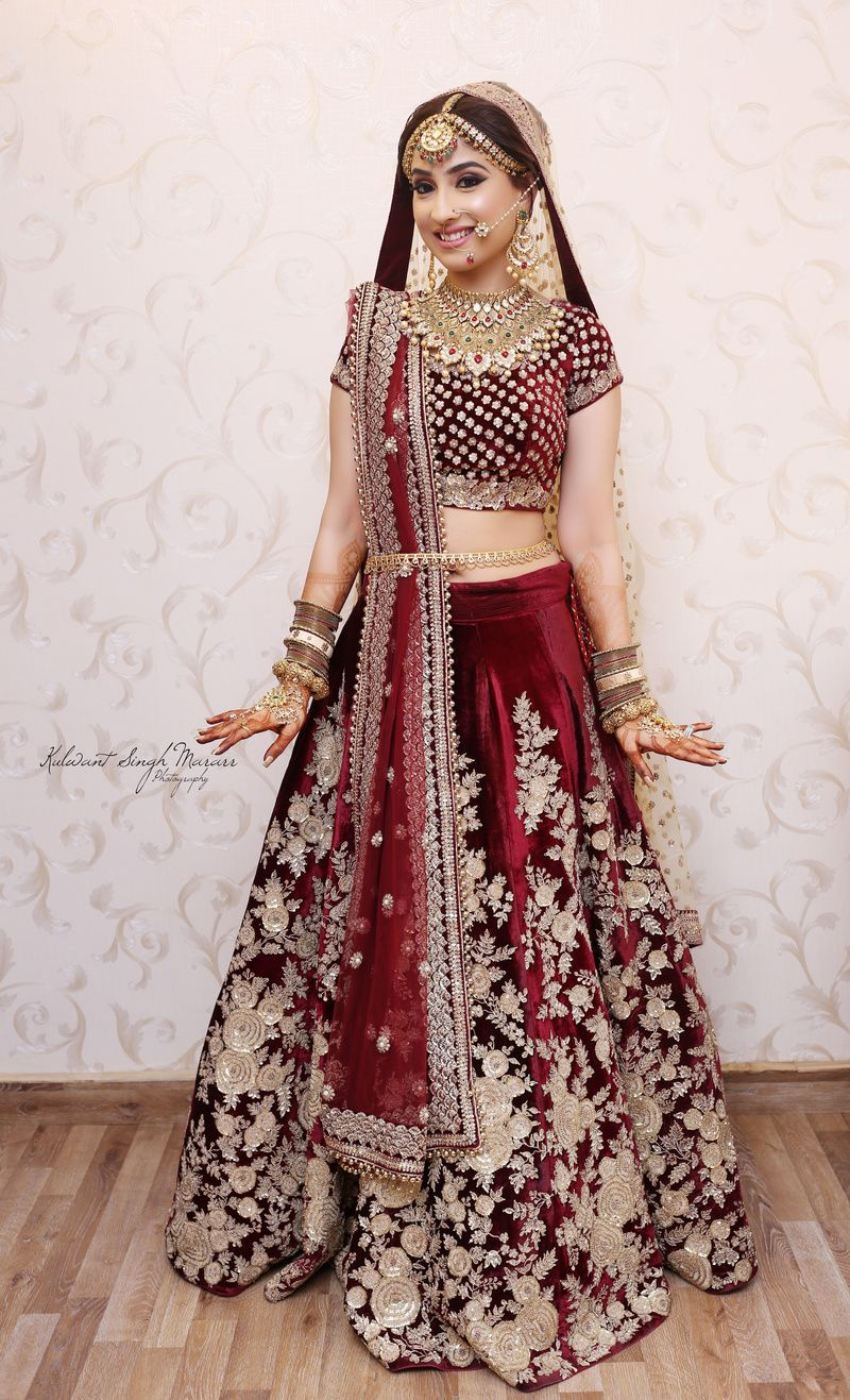 Marsala Wedding Lehenga With Fl Zardozi Work