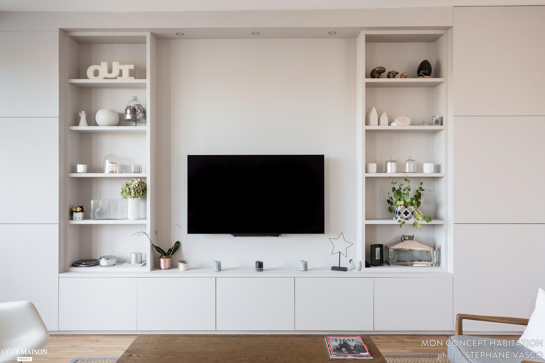 Pingl sur salon - Meuble tv avec bibliotheque ...