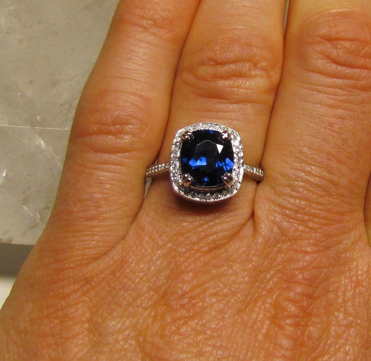 Ceylon Blue Sapphire Square Cushion 14K Gold and Diamond