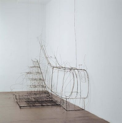escalator wire frame sculpture by Fritz Panzer Sculpture - designer mobel der majestatische sessel von massimo farina