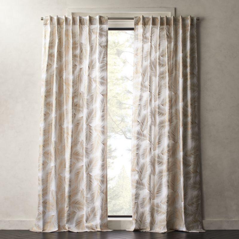 Shop Gold Palm Leaf Curtain Panel White Cotton Curtain Panels
