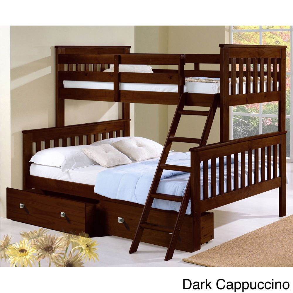 Donco kids mission tilt ladder twinfull storage bunk bed dark