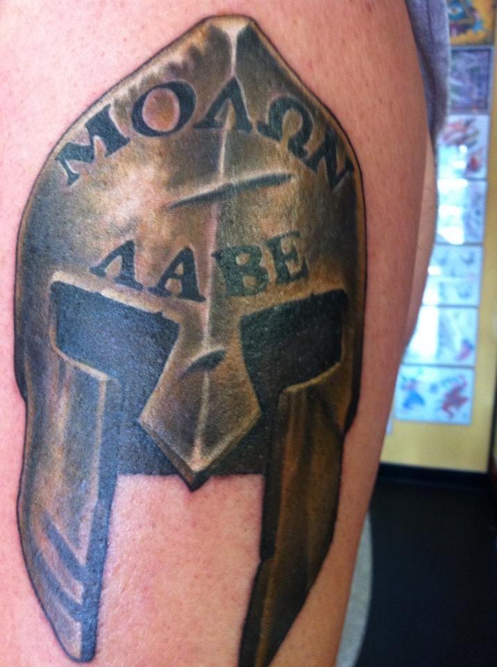 Spartan Helmet American Flag Tattoo