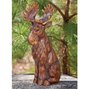 Sitting Moose Statuary Cute For The Garden By Back Door