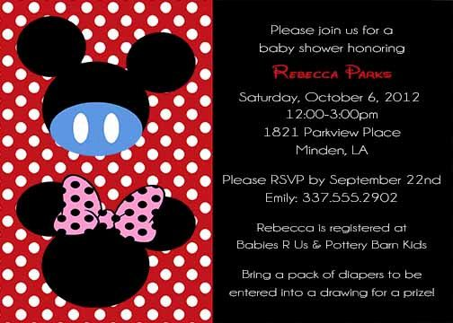 Printable mickey mouse or minnie mouse twins baby shower invitation printable mickey mouse or minnie mouse twins baby shower invitation can be changed to gender filmwisefo