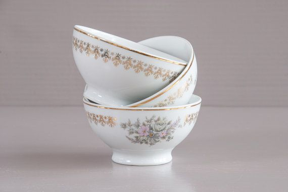 Set of 3 small French cafe au lait bowls . Gilded porcelain bowls from French…