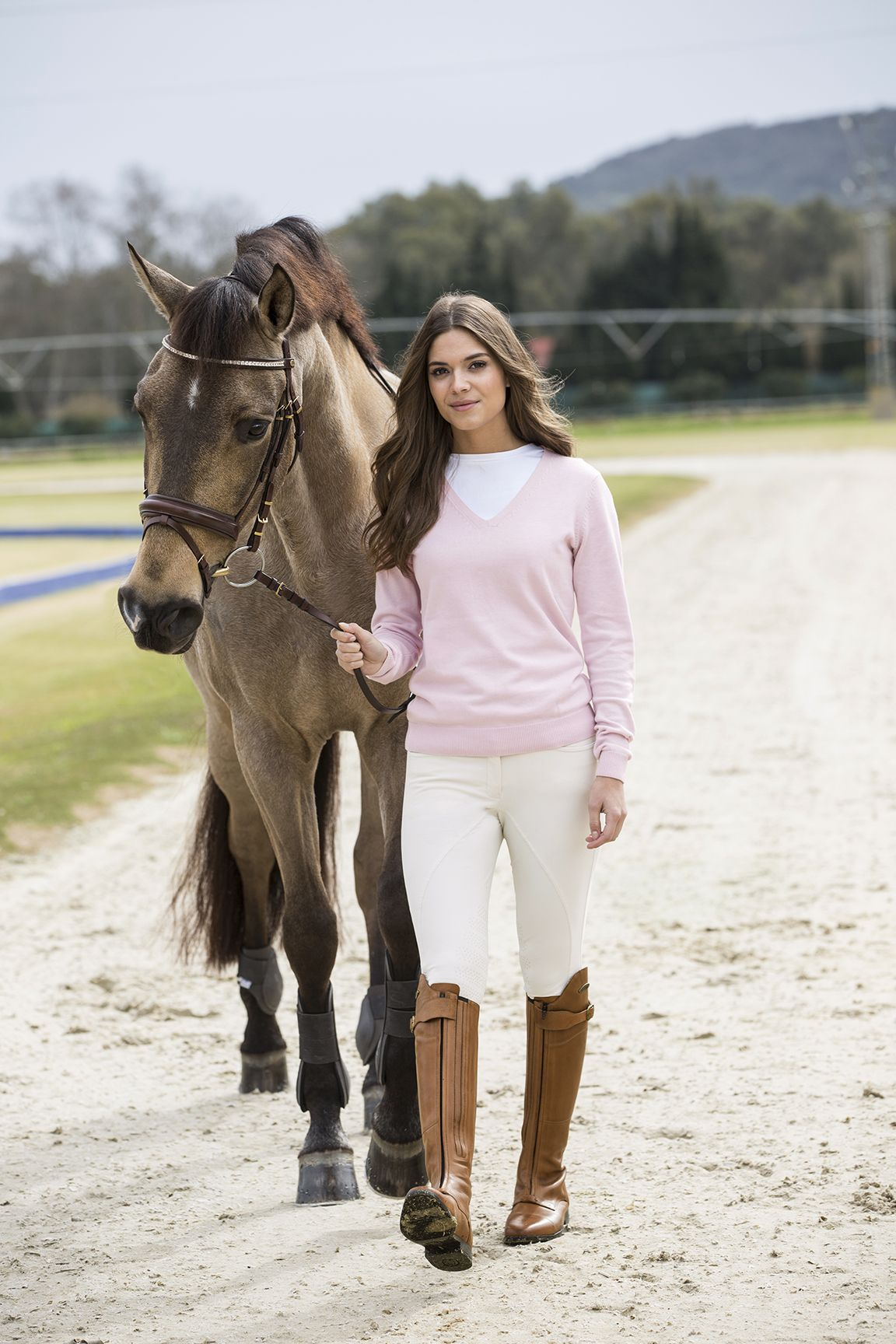 Fine Knit Jumper With V Neck From Crw Equestrian