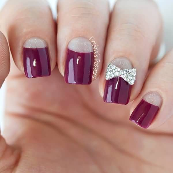 Maroon Nails With Half Moon Nail Art With Accent Metallic 3D Design ...