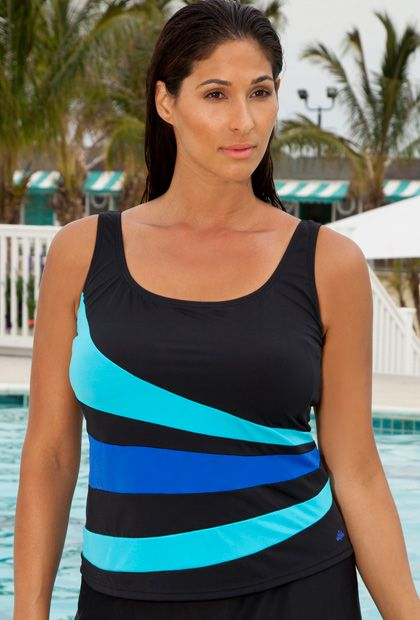 Aquabelle Turquoise and Blue Spliced Tankini Top