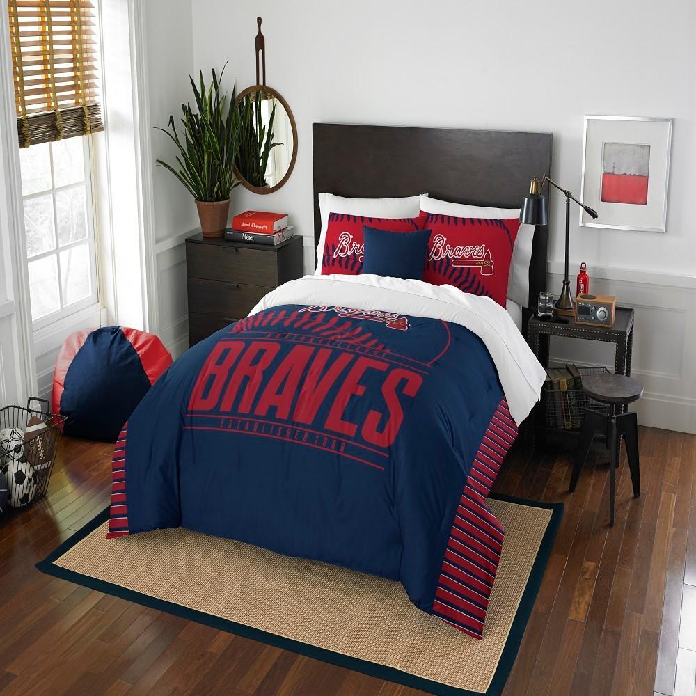 Mlb Atlanta Braves Northwest Grandslam Full Queen Comforter Set Comforter Sets Full Comforter Sets Queen Comforter Sets