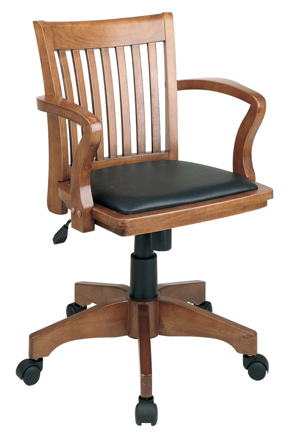 deluxe wooden home office. OSP Designs Deluxe Wood Banker\u0027s Chair With Black Vinyl Padded Seat - Fruitwood By Office Star Products Wooden Home S