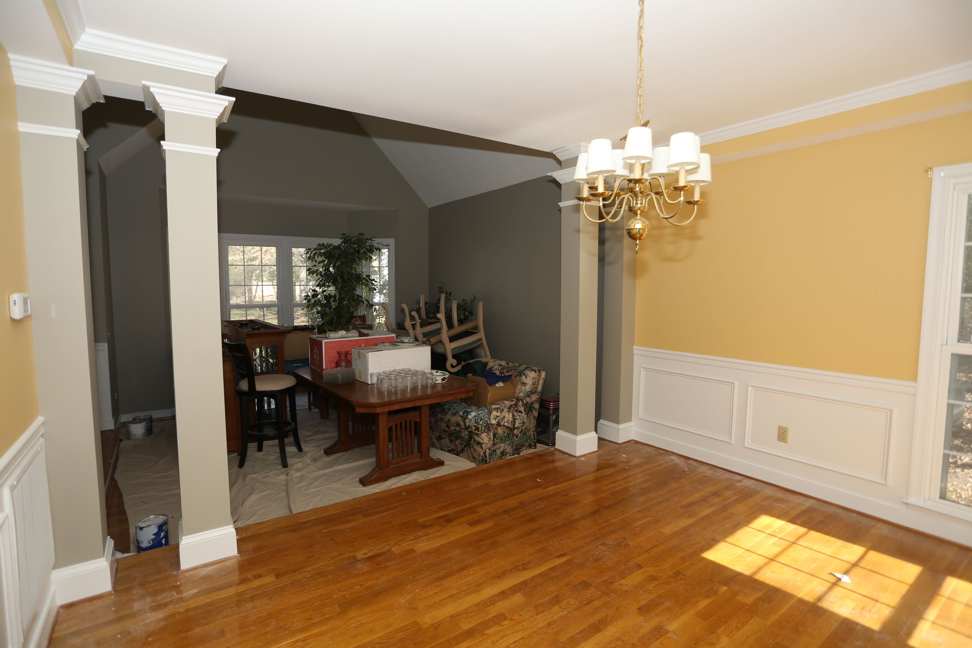 dining room repainted bm concord ivory sw gateway gray on walls
