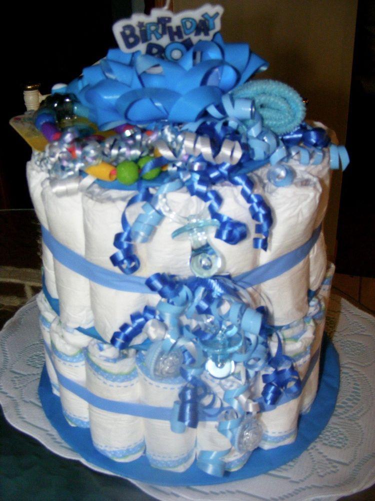 2 tier diaper cakeeasy as pie diaper cake boy cake