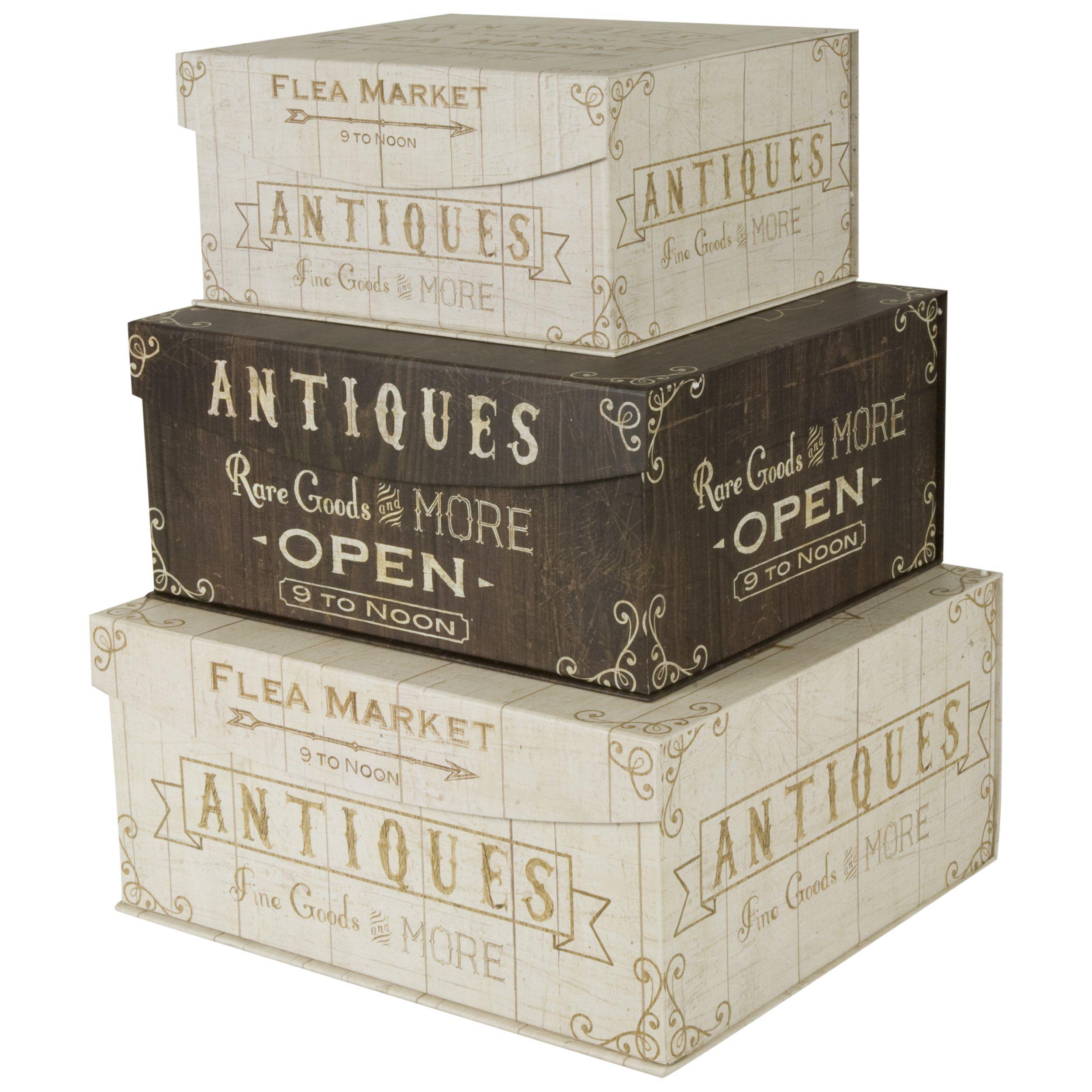 Decorative nested flip top storage boxes
