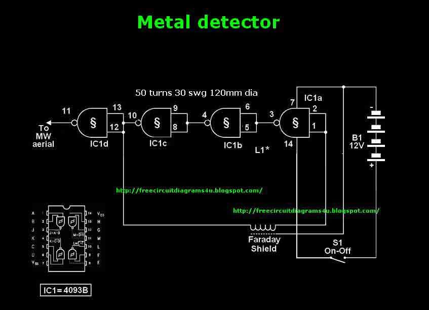 Mettle Detector Circuit With Ic4093 Metal Detector Detector Circuit