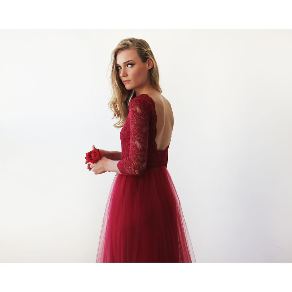 Bordeaux tulle and lace maxi gown sale products pinterest