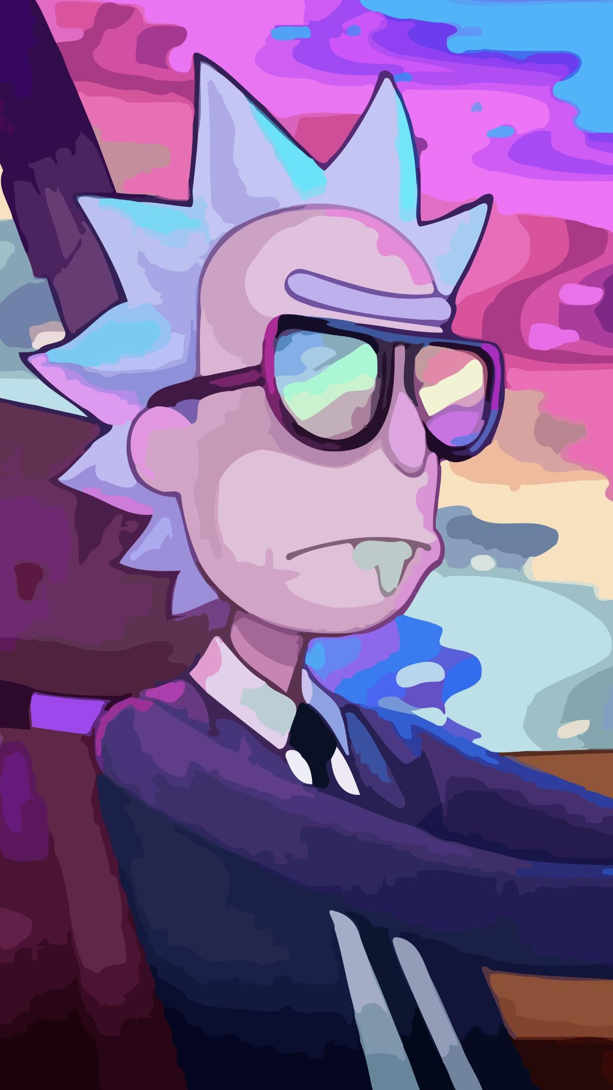 Here Is A Nice Trippy Rick Wallpaper For Mobile Phones Enjoy Rickandmorty Rick Pickleric Rick And Morty Drawing Rick And Morty Poster Cartoon Wallpaper