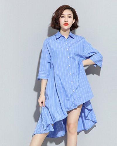 73d6e169ed19 Chic stripe shirt dress for women long flouncing shirts half sleeve design