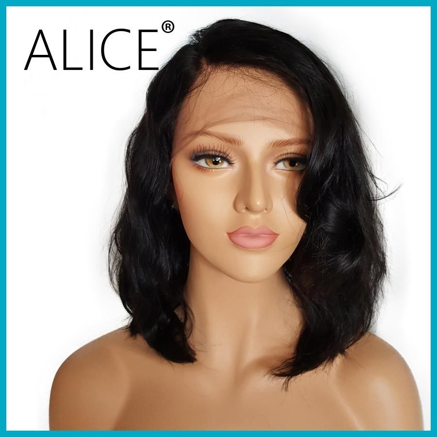 Alice short glueless lace front human hair wigs with baby hair