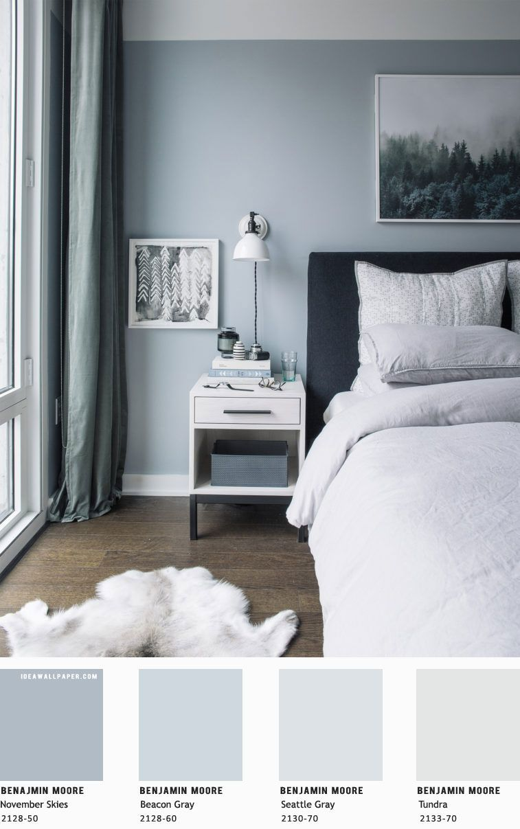 Inspiring Beautiful Bedroom Designs In Light Blue Grey Benjamin Moore Painting Colors Bedroom Colour Schemes Blue Bedroom Color Schemes Blue Bedroom Walls
