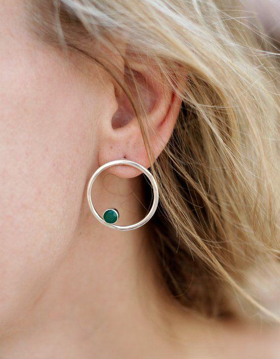 f29593799 Hoop silver earrings with stones 25mm, green stone stud earrings, simple post  earring, open hoop stu