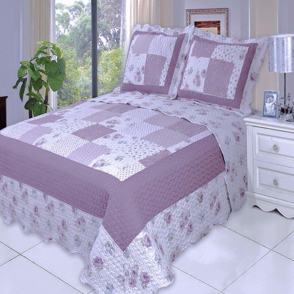Chic Shabby Purple Plum Patchwork Quilt Coverlet Set Oversized ... : oversized quilts and coverlets - Adamdwight.com
