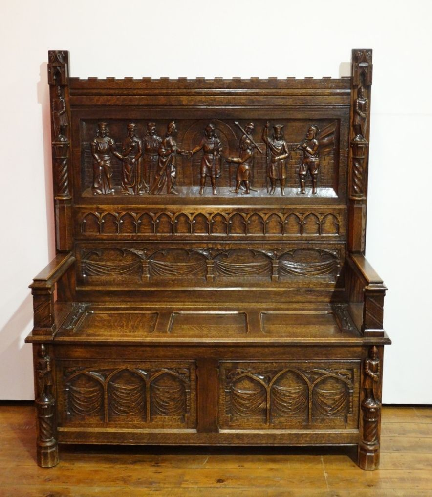 Terrific Neo Gothic Carved Oak Hall Bench Medieval Furniture Camellatalisay Diy Chair Ideas Camellatalisaycom